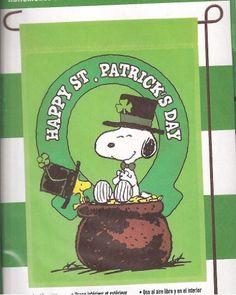 """Peanuts Snoopy & Woodstock """" Happy St. Patrick's Day """" Garden Flag . $21.98. Outdoor / Indoor Decorative Flag. St. Patrick's Day Theme  / Art Reflections. 12"""" x 18"""" Garden Flag. Release 2012. 100 % Polyester. Release 2012 ; Great flag to add to your Snoopy collection . We offer prompt First Class delivery service which ships usually out to you within one business day and provide you with a tracking number to help track your order. We believe in Quick Responses and Great Servi..."""