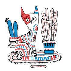 3-colors cat doodle. #sketchbook #cat #illustration