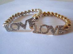 LOVE Rhinestone Beaded Bracelet by BNychele on Etsy, $9.95