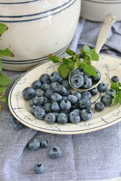 Blueberries and blue and white crocks