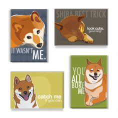 Shiba Inu Magnet Set I  Shiba Inu Magnets by PopDoggie on Etsy, $22.00