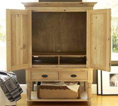 Mason Reclaimed Wood Media Armoire - Wax Pine finish | Pottery Barn