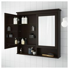 Ikea Hemnes Mirror Cabinet With 2 Doors Black Brown Stain