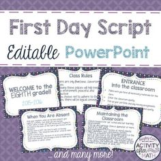 First Day Script in an Editable PowerPoint!... by Hayley Cain - Activity After Math | Teachers Pay Teachers