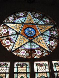 This unusual stained glass window is in the First Methodist Church in Warren, Indiana