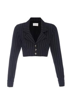 Pin stripe cropped blazer/bolero with a low V-neck functional front button closure. Kpop Fashion Outfits, Stage Outfits, New Jeans Style, My Style, Outfit Combinations, Piece Of Clothing, Pullover, Capsule Wardrobe, Cute Outfits