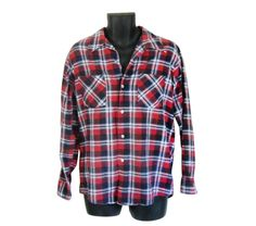 Lumbersexual Red Blue Men's Flannel Shirt Vitnage by ShineBrightVintage