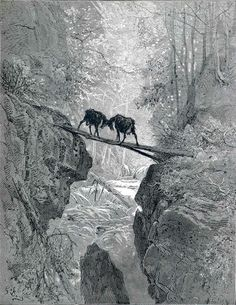 The Two Goats (The Fables) by  Gustave Dore