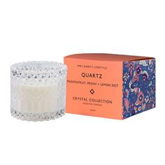 Mrs Darcy |Crystal Collection Candle - Quartz: Passionfruit, Peony + Lemon Zest Crystal Glassware, Crystal Collection, Glass Containers, Peony, Wax, Quartz, Cleaning, Candles, Crystals