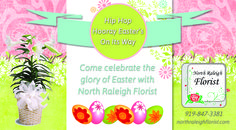 Front of postcard for North Raleigh Florist Easter Promotion. VA Business Help, Virtual Assistant Services. Graphic Designer.