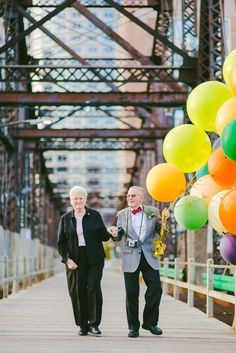 """When a couple is celebrating 61 years of marriage with pictures inspired by the Pixar movie UP! A series of adorable photographs featuring """"Nina & Gramps"""", per"""