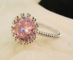 New Light Rose Cubic Zirconia Solitaire by HisJewelsCreations