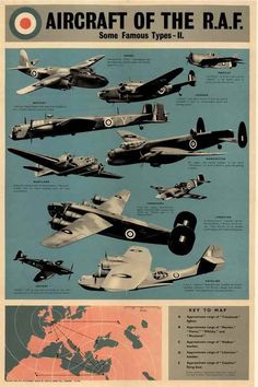 Aircraft of the RAF - Wartime Poster Ww2 Posters, Poster Ads, Aircraft Photos, Ww2 Aircraft, Air Force Pictures, Airplane Fighter, Battle Of Britain, World War One, Military Art