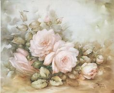 Pale Pink Roses on A Table 1 by Sonie Ames China Painting Study 1964 Art Floral, Floral Prints, Decoupage Vintage, Decoupage Paper, Decoupage Printables, Flower Bird, China Painting, Painting Patterns, Beautiful Paintings