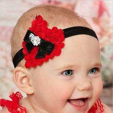 Presente de natal do bebê Grils de arcos Headband flores de strass elástica Headwear crianças acessórios de cabelo(China (Mainland))