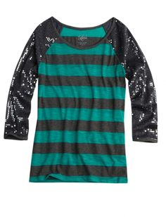 Sequin Sleeve Striped Tee | Girls 12-hour Flash Sale Clearance | Shop Justice