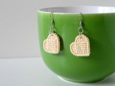yellow macrame heart earrings, fashion jewelry for her, knotted pale hearts on silver earhooks, valentines day gift, anniversary gift
