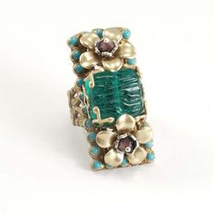 vintage inspired turquoise floral ring