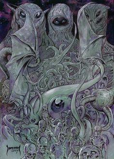 The Elder Gods by Mike Dubisch http://themikedubischsketchbook.blogspot.com/2009/05/elder-gods.html#