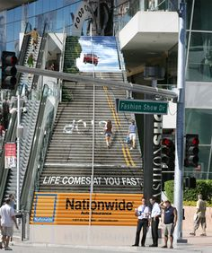 Nationwide Stairs Advertisement Nationwide Auto Insurance: Life comes at you fast.