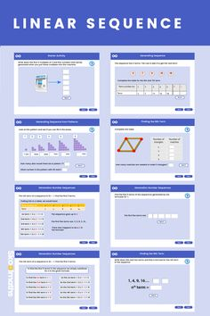 Linear sequence is a complete interactive lesson , in which learners will be able to recognise and use linear sequences. They will find nth term of a sequence. Ks3 Maths Worksheets, Maths Resources, Kindergarten Math Worksheets, Sequencing Activities, Teaching Math, Secondary Math, Primary Maths, Gcse Maths Revision, Sats