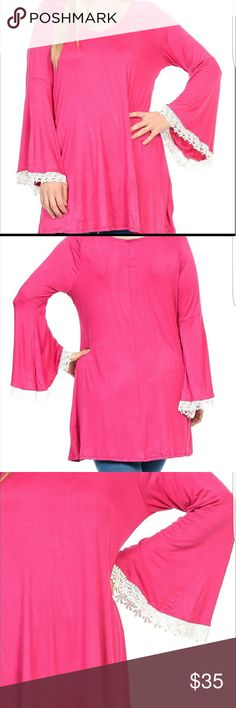 Long sleeve blouse with lace Great color top with details Bellino Clothing Tops Blouses