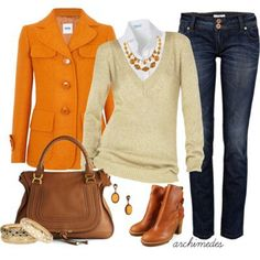 Orange coat, Beige sweater, White shirt, Jeans, Brown boots - Semi formal Outfit