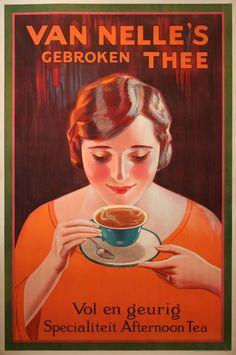 'Van Nelle's gebroken thee' - Dutch advertising tea poster Vintage Advertising Posters, Old Advertisements, Vintage Posters, Vintage Coffee, Vintage Tea, Retro Vintage, Vintage Food, Retro Ads, Poster Ads