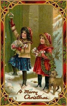 Antique postcards of Charming Children in Red Christmas Coats Free Clip arts.