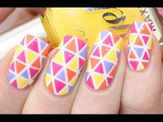 Colorful Triangle Nail Art Tutorial