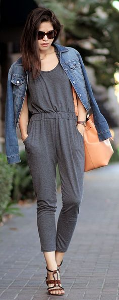 Sheinside Grey Jersey Elastic Waist Ankle Jumpsuit  # #Fake Leather