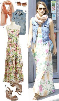 Dress by Number: Jessica Alba's Floral Maxi Dress and Denim Vest