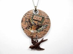 Fly Mixed Media Metal Pendant Necklace Beaded by LittleBitsOFaith