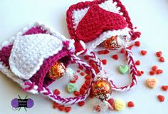 Valentine's Day Mini Treat Bags free crochet pattern from Blackstone Designs