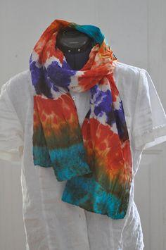 Silk Shibori Scarf - Hand Dyed Silk Scarf - Purple, Orange, Turquoise - Silk Habotai - Gift for Her by WhatJennyMakes on Etsy Dyed Silk, White Silk, Shibori, Turquoise, Pure Products, Orange, Purple, Gift, Etsy