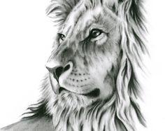 Carbone di disegno, stampa al carbone, Leone arte, disegno Lion, Lion schizzo, carbone Lion, Lion stampare