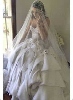 SALE PRICE $158.00 REGULARLY $178.00 Swarovski Crystal Rhinestone Wedding Veil Cathedral length Bridal Accessories Double sided 3MM AND 4MM SWAROVSKI CRYSTAL RHINESTONES are heavily scattered from the