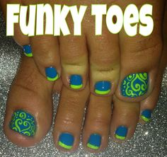 Her toes are definitely ugly but the Polish colors are and those close to Seattle Sounders & Seattle Seahawks colors ! Cute Toe Nails, Hot Nails, Pretty Nails, Pretty Pedicures, Toe Nail Color, Toe Nail Art, Nail Colors, Toenail Art Designs, Fingernail Designs