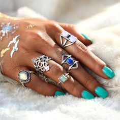 Opal Midi Ring Set