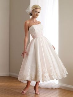A Line Strapless Organza Tea Length Wedding Dress - pictures, photos, images Informal Wedding Dresses, Informal Weddings, Wedding Dresses 2014, Affordable Wedding Dresses, Wedding Dress Shopping, Wedding Dress Styles, Bridal Dresses, Wedding Gowns, Bridesmaid Dresses