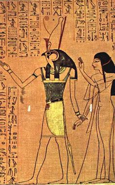 Detail from the Papyrus of Anhai BC) The God Heru-Netsch-Atef leads Lady Anhai a singer in the choir of Amen-Ra at Thebes into the presence of some gods. Ancient Egypt Art, Ancient Artifacts, Ancient History, Egyptian Symbols, Egyptian Art, Book Of The Dead, Gods And Goddesses, Archaeology, Amen Ra