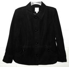 JM Collection Petite NEW Black Winter Dress Coat Button Front PM Medium