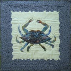 Chesapeake Bay Blue Crab raw edge applique and pieced wall quilt pattern