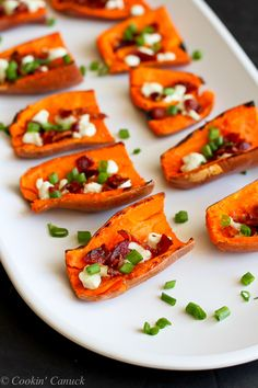 Light Sweet Potato Skins with Bacon and Goat Cheese...A healthy game day recipe! 87 calories & 2 Weight Watcher PP | cookincanuck.com