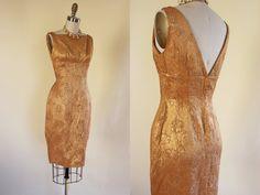 1950s Dress - Vintage 50s Gold Lame Dress - Metallic Golden Bust Shelf Cocktail Party Dress S M - Sin City Dress