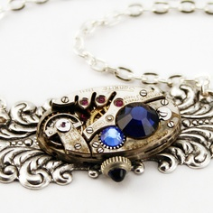 Steampunk Jewelry Necklace with Blue Stones