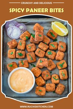 Prepare to bite into these flavorful spicy paneer bites that are crunchy and crispy on the outside, moist and tender inside. The baked version included in the recipe. It can be made gluten-free too! #paneerrecipes #paneersnack #indiansnacks #paneernuggets #paneerbites Paneer Snacks, Paneer Dishes, Paneer Recipes, Indian Food Recipes, Easy Snacks, Yummy Snacks, Snack Recipes, Cooking Recipes, Veg Recipes