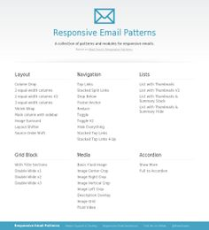 Responsive Email Patterns | Brian Graves Responsive Email, Responsive Layout, Html Email Design, Linked List, Design Development, Web Design, Coding, Patterns, Digital