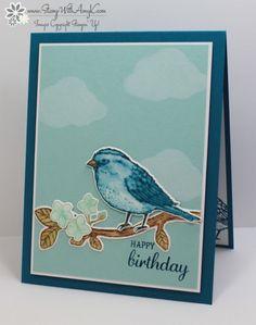 SU!: Best Birds, Aqua Painter (fairly dry): Soft Suede, Wild Wasabi, Pool Party, Island Indigo and Pumpkin Pie, clouds through stencil w/ white kraft, stamping with Amy K