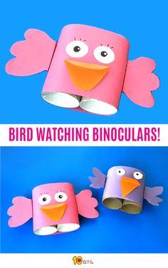 Bird Watching Binoculars Craft - 10 Minutes of Quality Time Bird Crafts Preschool, Preschool Art Projects, Daycare Crafts, Preschool Learning Activities, Projects For Kids, Preschool Activities, Crafts For Kids, Toddler Art, Toddler Crafts